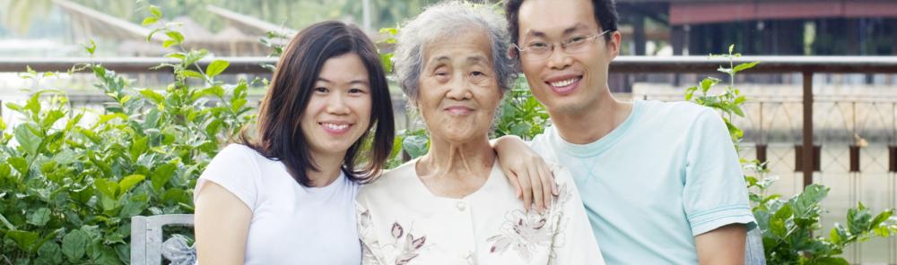 asian granny with her grandchildren
